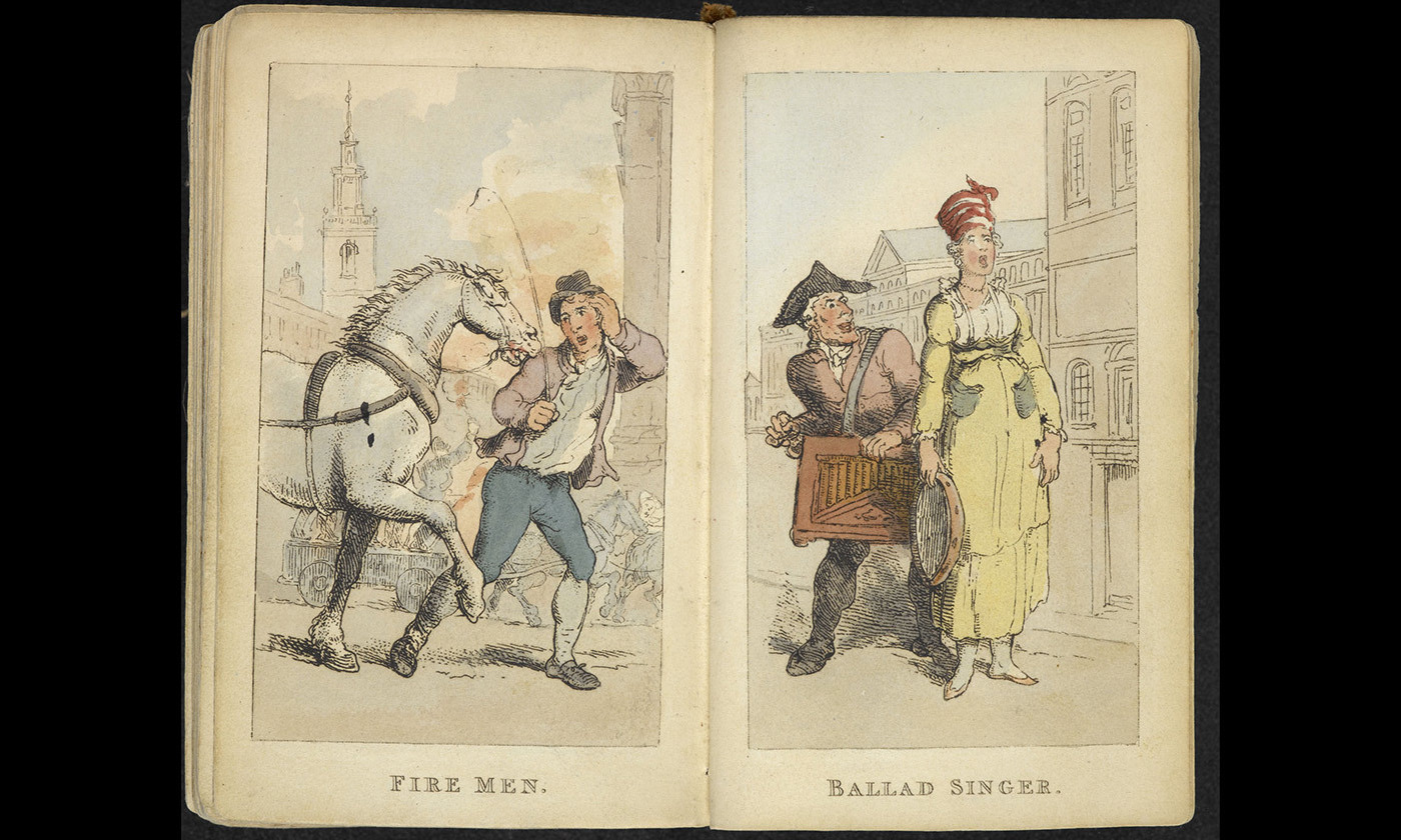 <p>From Rowlandson's 'Characteristics of the Lower Orders', 1820. <em>Photo courtesy The British Library</em></p>