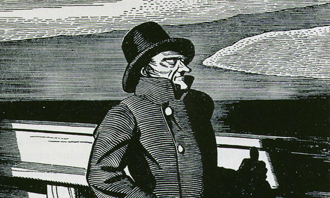 Rockwell Kent's illustration of Captain Ahab from the 1937 edition of Moby Dick. Photo by Rex Features