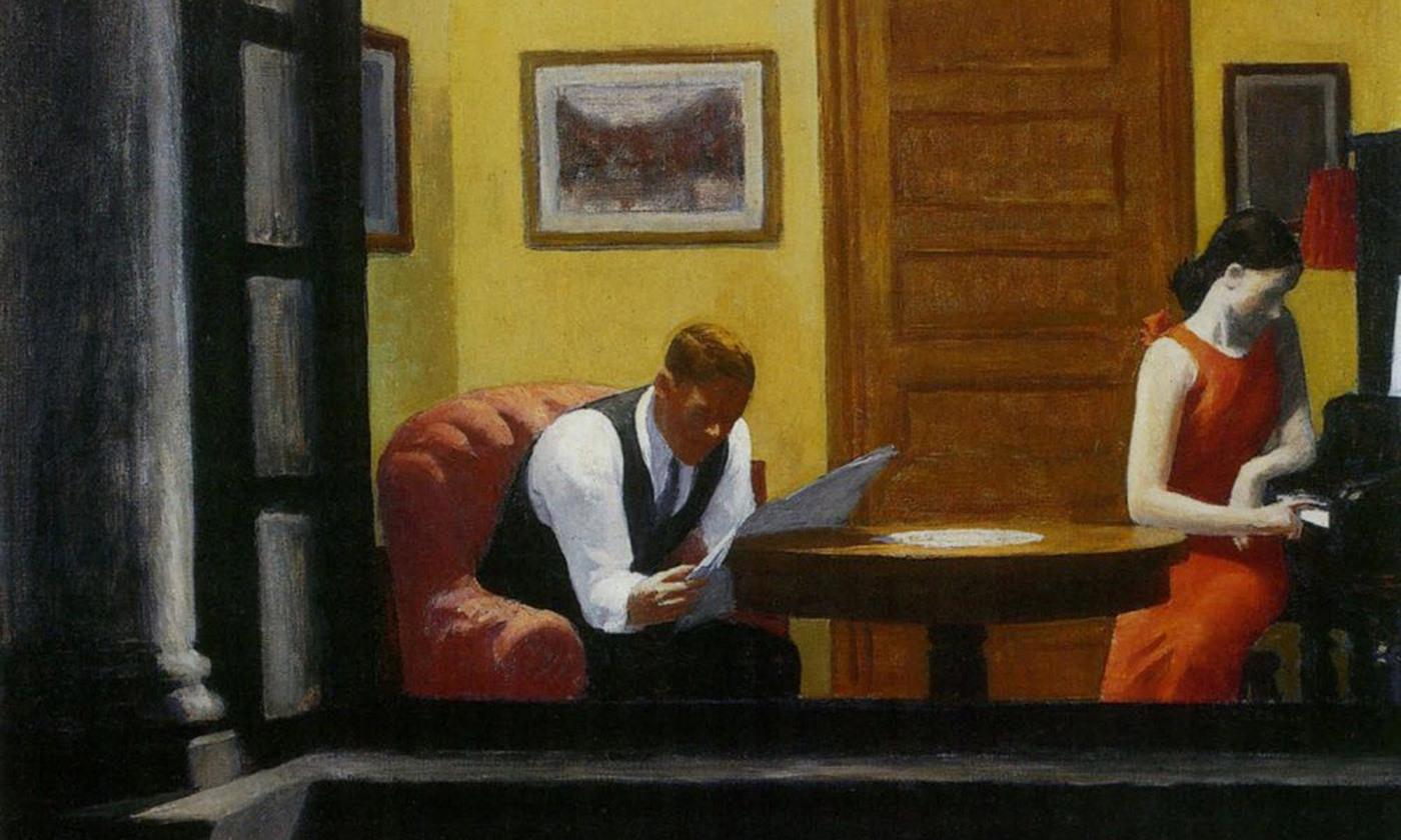 <p><em>Room in New York </em>(1932) by Edward Hopper. <em>Photo courtesy Wikimedia</em></p>