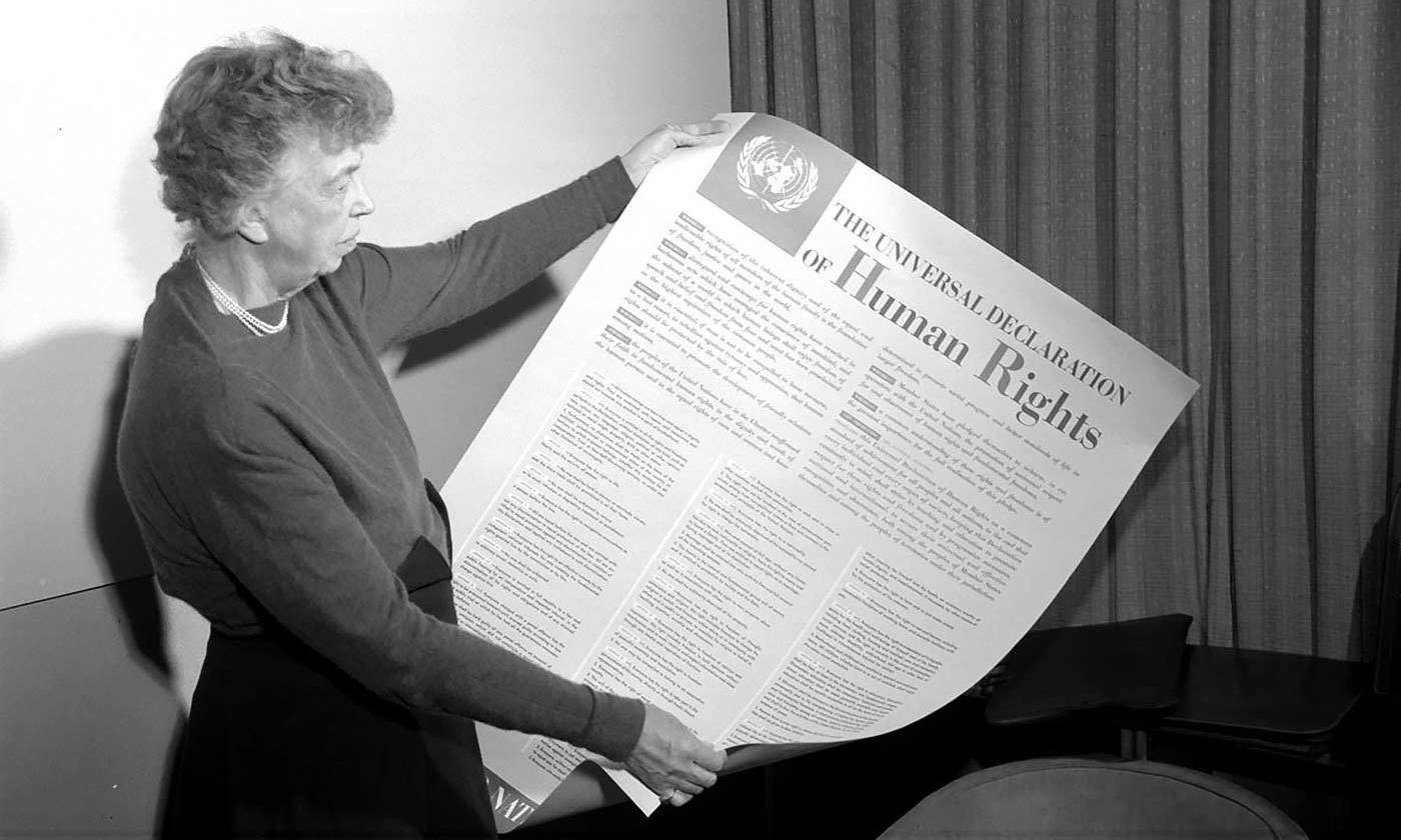 <p>Eleanor Roosevelt was instrumental in drafting The Universal Declaration of Human Rights in 1948. </p>