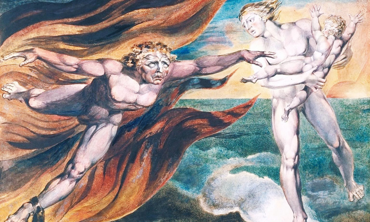 William Blake, <em>The Good and Evil Angels</em> 1795–c.1805. CC-BY-NC-ND © Tate