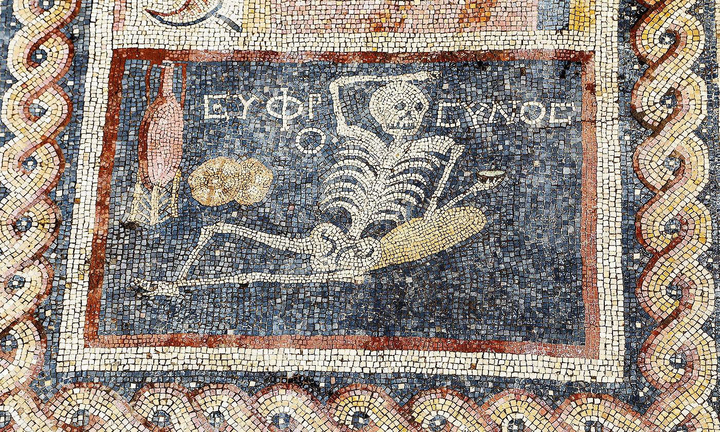 A Roman mosiac of the dead enjoying life, recently discovered in Hatay, Turkey. <em>Photo by  Anadolu/Getty</em>