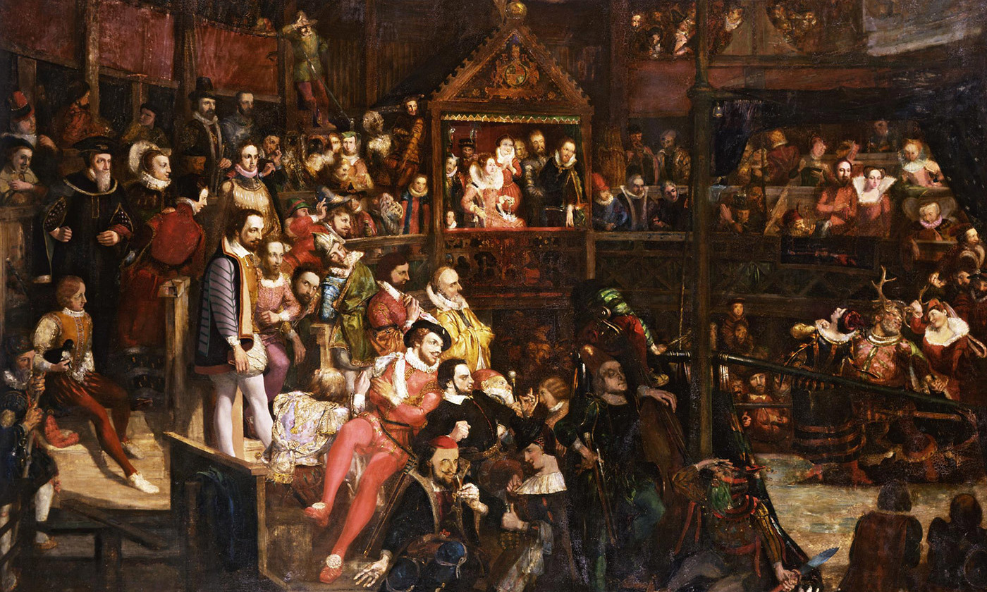 White people; <em>Viewing the Performance of 'The Merry Wives of Windsor' in the Globe Theatre</em> (1840) by David Scott. <em>Photo courtesy the V&A Musuem</em>