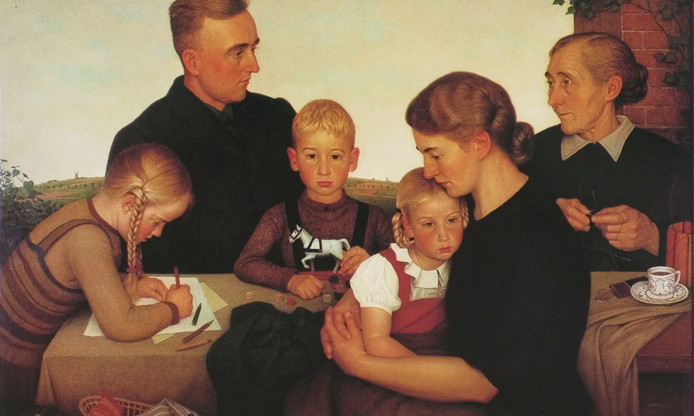 <p>Detail from <em>Farm family from Kalenberg</em> (1939) by Adolf Wissel. <em>Courtesy Federal Republic of Germany</em></p>