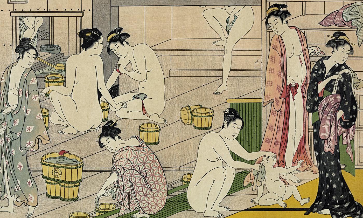 Detail from <em>Bathhouse Women</em> by Torii Kiyonaga, 1752-1815. <em>Library of Congress</em>