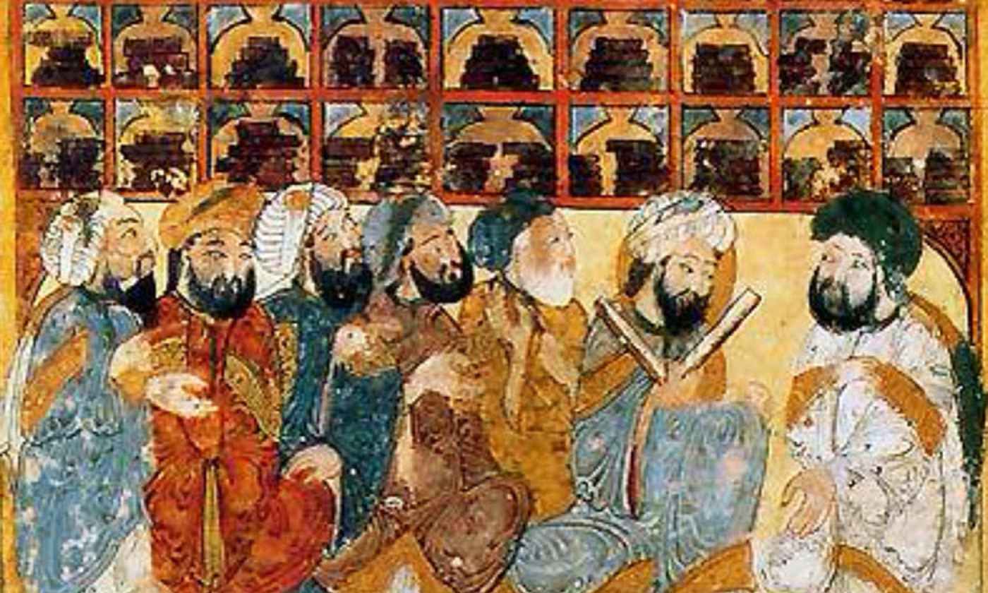 Scholars in a library from the Maqama of Hariri manuscript. <em>Courtesy Bibliotheque Nationale/Wikipedia</em>