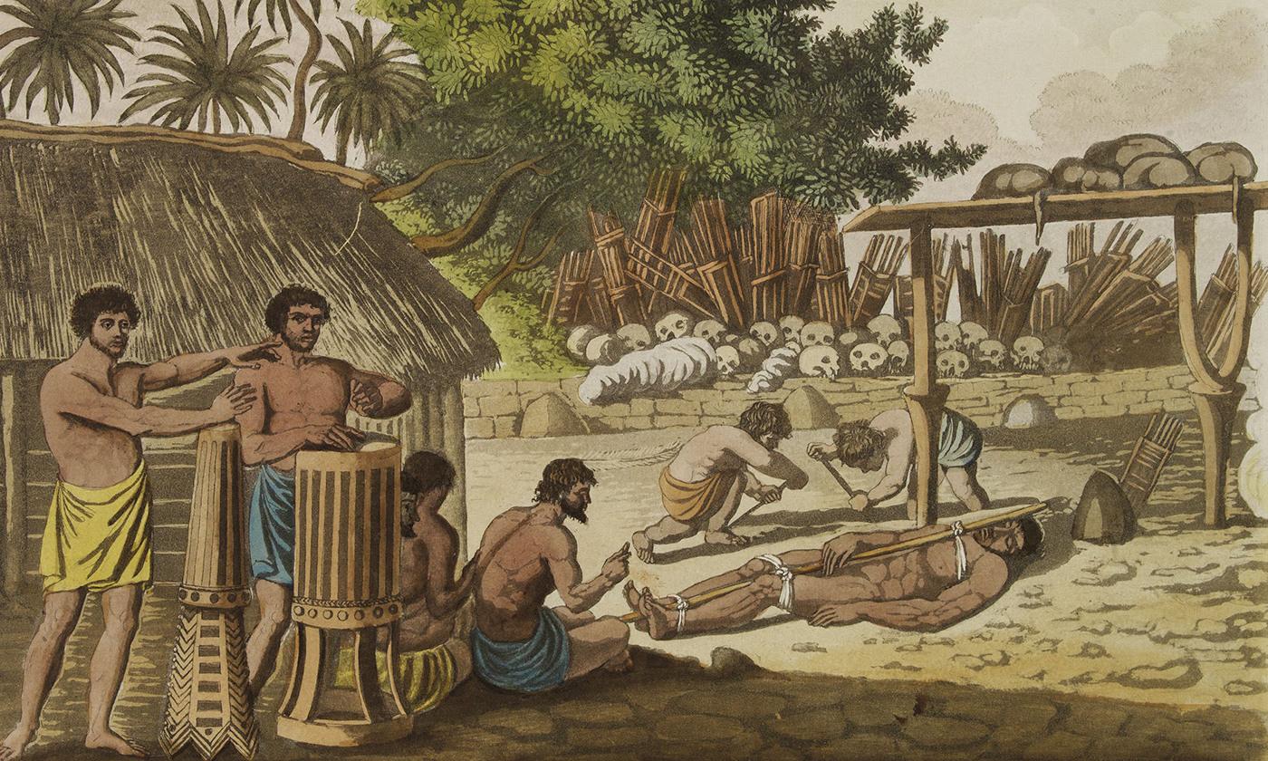 Aquatint depicting the Morai (Tahiti), practice of human sacrifice.  From Giulio Ferrario's work Le Costume Ancien et Moderne . <em>Courtesy Wikimedia </em>