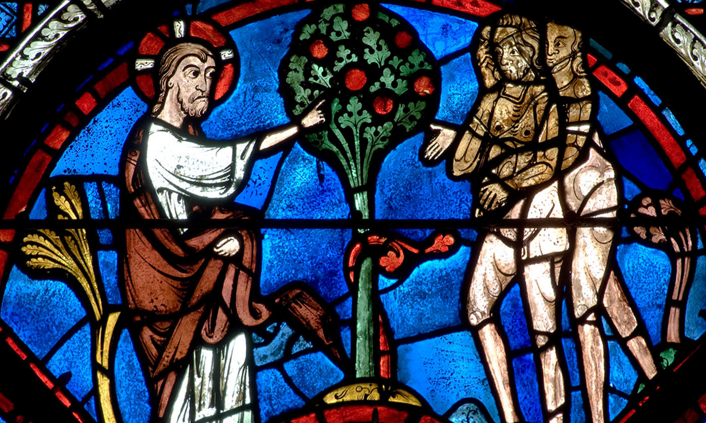 Detail from the Good Samaritan window in Chartres Cathedral. <em>Photo courtesy Wikipedia</em>