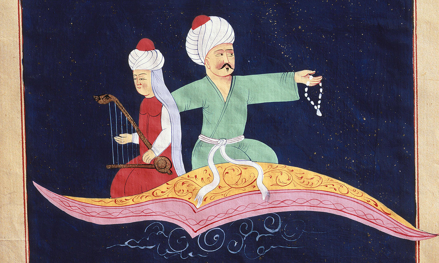 Flying Over Istanbul and the Galata Tower on the Magic Carpet from the 1001 Nights, Turkish miniature, 19th C. <em>Photo by Rex</em>