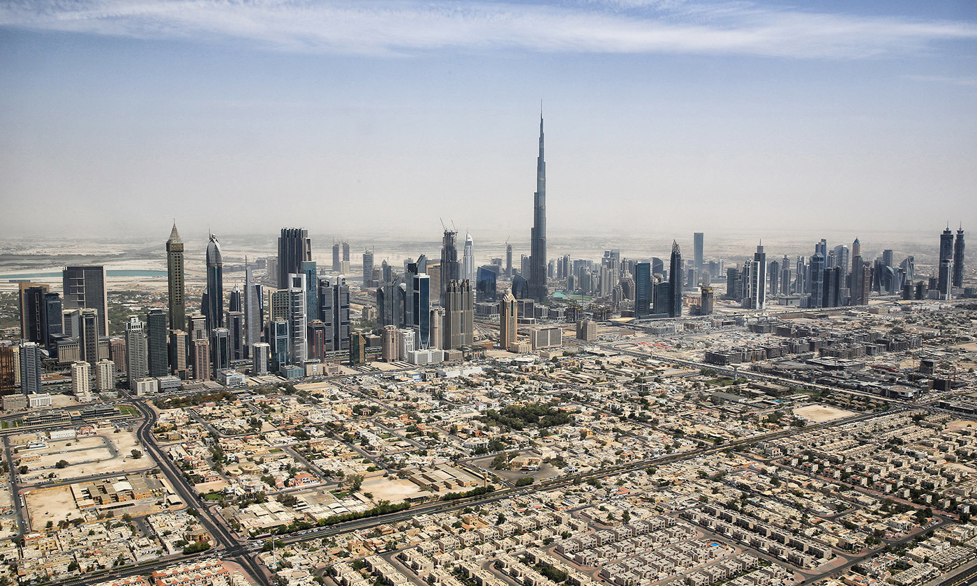 <p>The Dubai skyline featuring the Burj Khalifa (centre) in 2015. <em>Photo courtesy Wikimedia</em></p>