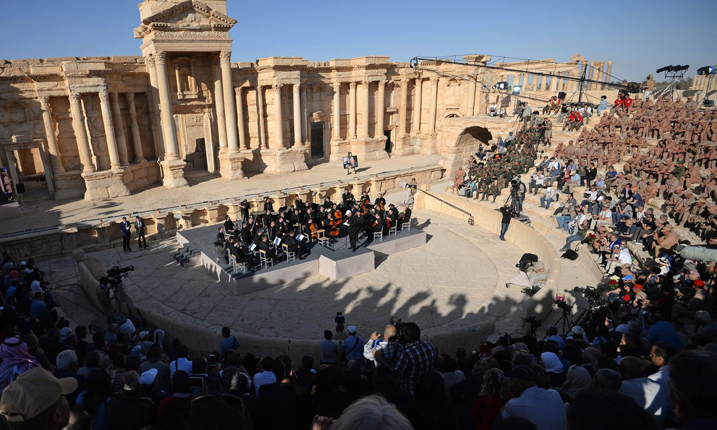 <p>The Mariinsky Symphony Orchestra performs at Palmyra in 2016. <em>Photo courtesy Wikimedia</em></p>