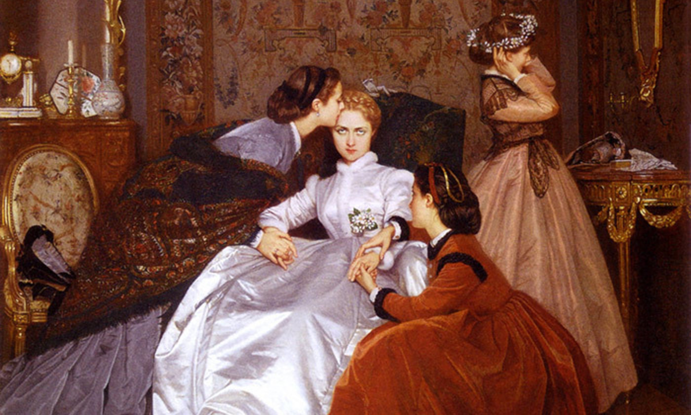 Detail from <em>The Reluctant Bride</em> (1866) by Auguste Toulmouche. <em>Courtesy Wikimedia</em>