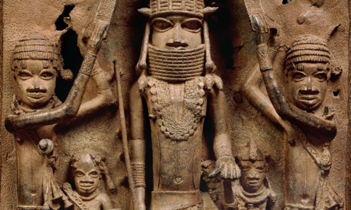 <p>Detail from a 16th-century bronze plaque from Benin, West Africa, held at the British Museum, London. <em>Courtesy the Trustees of the British Museum</em></p>