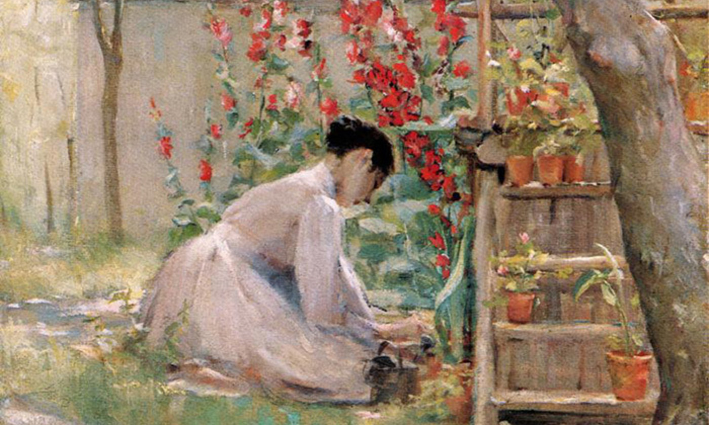 <p>Detail from <em>Tending the Garden</em> (undated) by Robert Lewis Reid (1862-1929). <em>Photo courtesy of Wikipedia</em></p>
