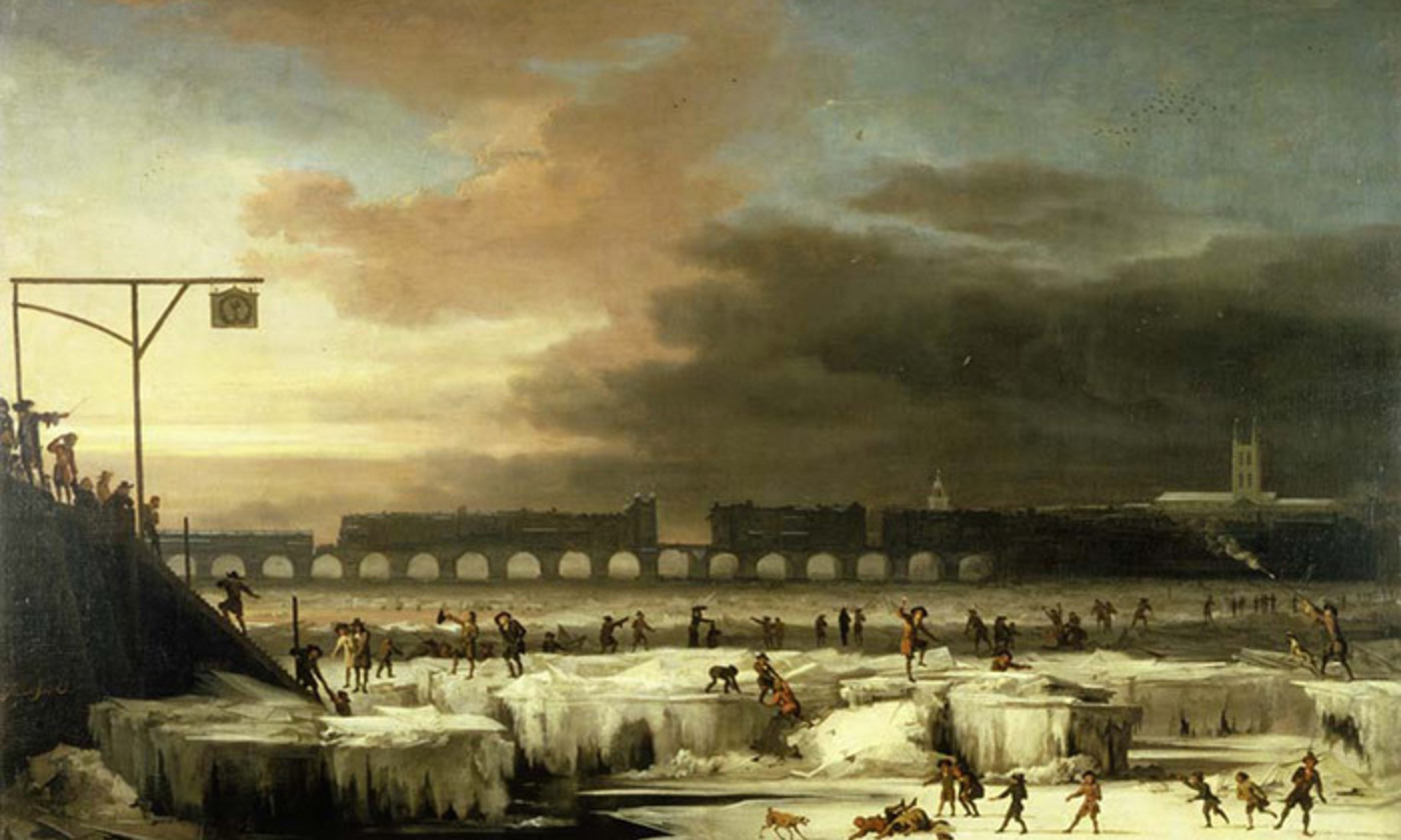 <p>From the Little Ice Age. <em>The Frozen Thames, looking Eastwards towards Old London Bridge </em>(1677) by Abraham Hondius. <em>Courtesy the Museum of London</em></p>