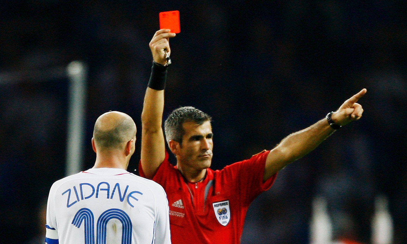 French captain Zinedine Zidane is sent off during the 2006 World Cup final in Germany. <em>Photo by Shaun Botterill/Getty</em>