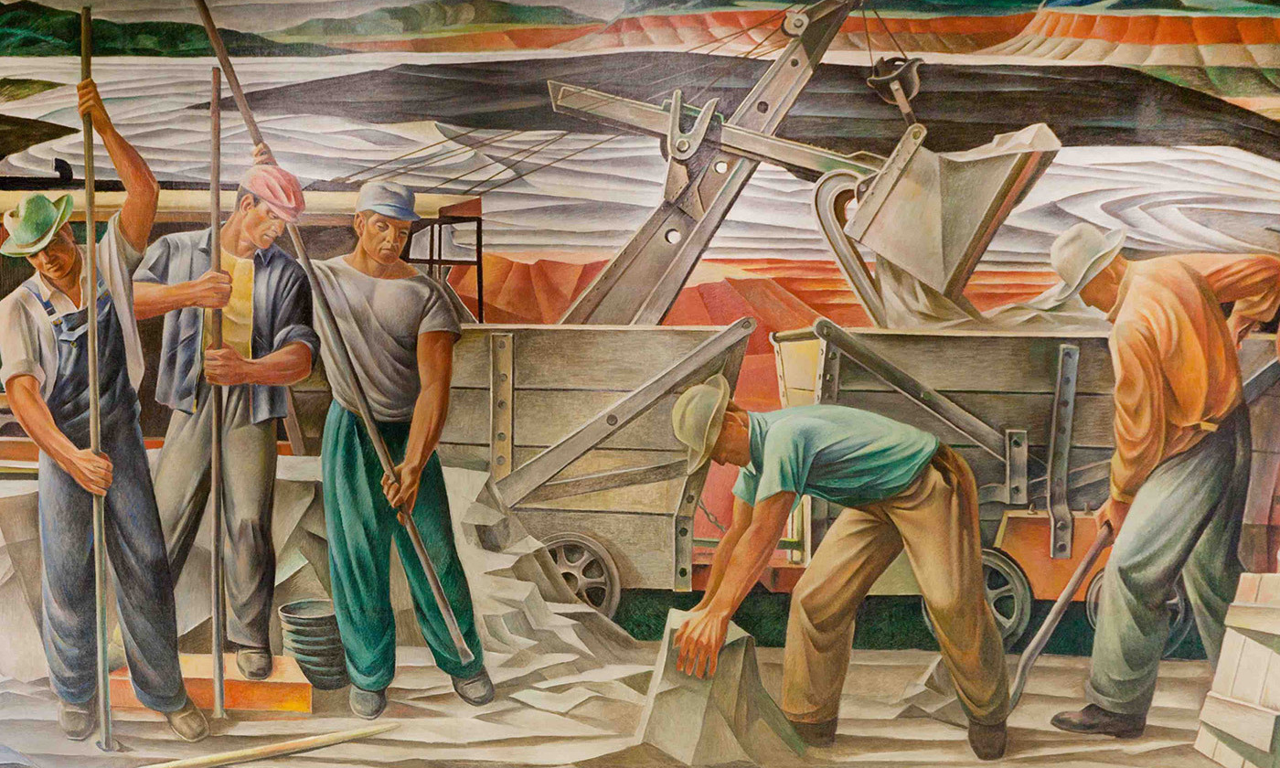 <p>Post Office mural <em>The Bauxite Mines</em> (1942) by Julius Woeltz. <em>Courtesy Library of Congress</em></p>