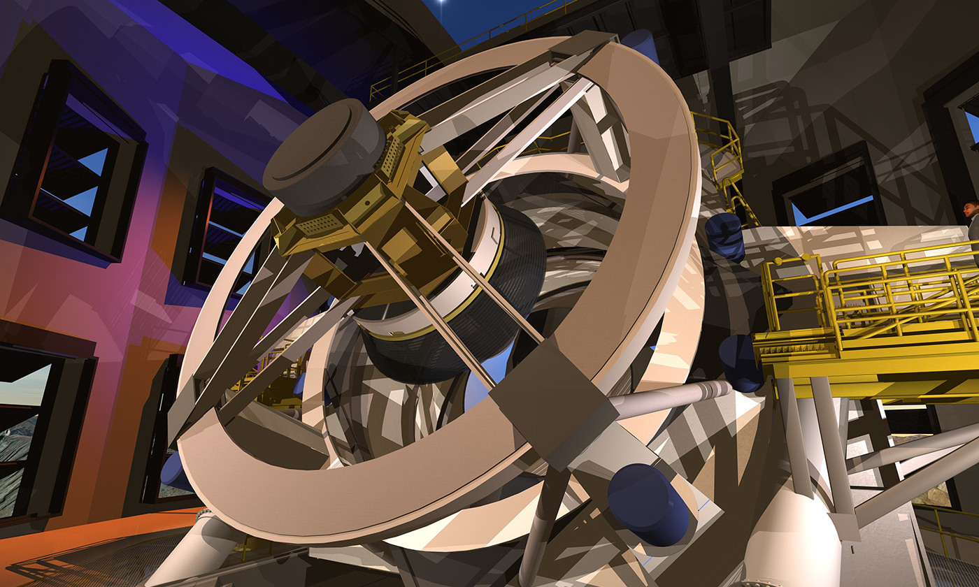 'A movie camera to watch the whole universe'; an artist's conception of the LSST inside its dome. <em>Courtesy Wikimedia</em>