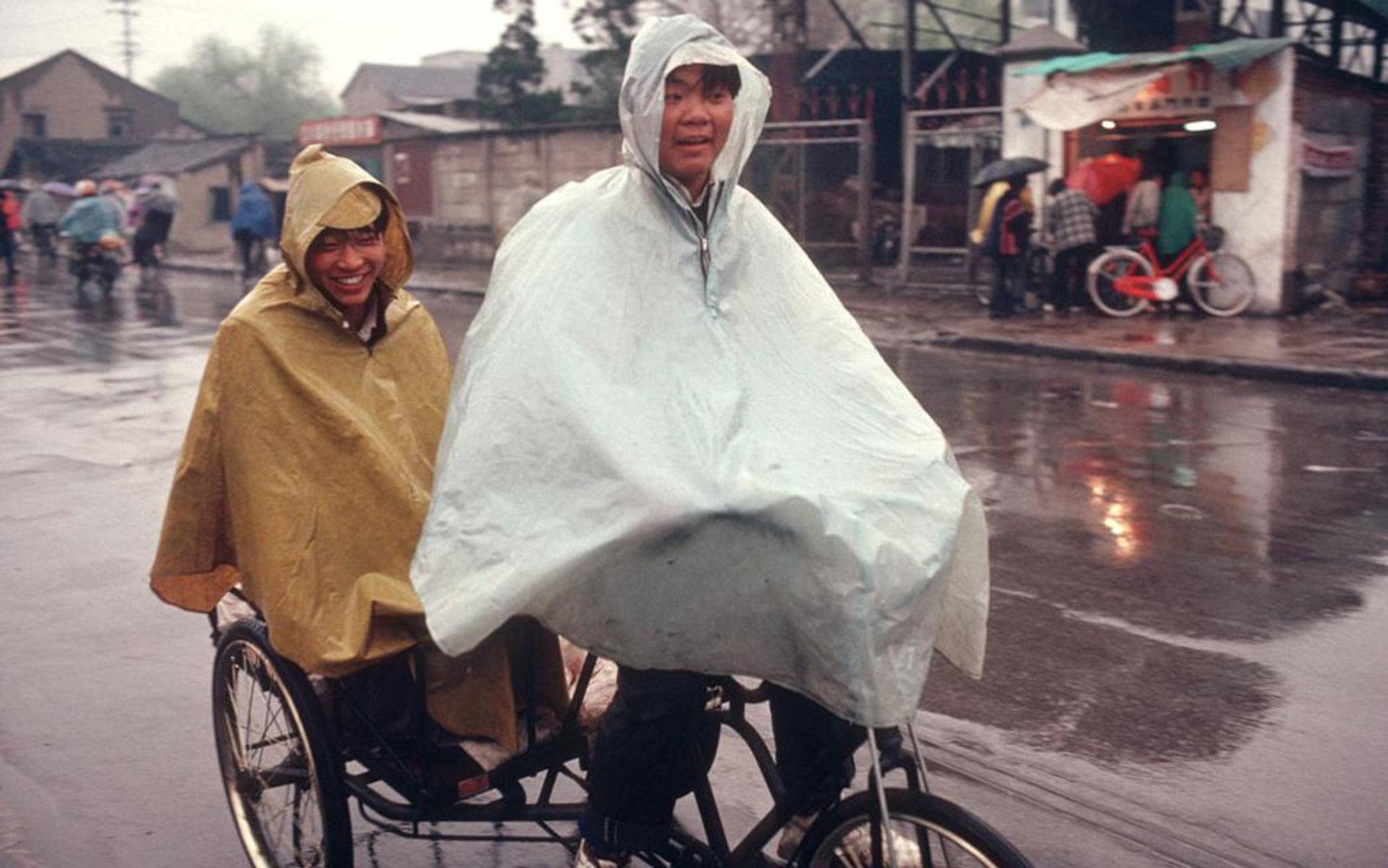 Header smiling in the rain