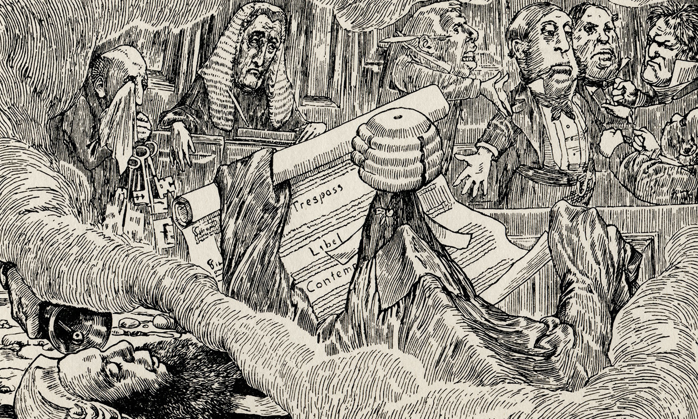 <p>One of Henry Holiday's original illustrations to <em>The Hunting of the Snark </em>(1876) by Lewis Carroll. The Snark is the foreground in barrister's robes. <em>Image courtesy Wikimedia</em></p>