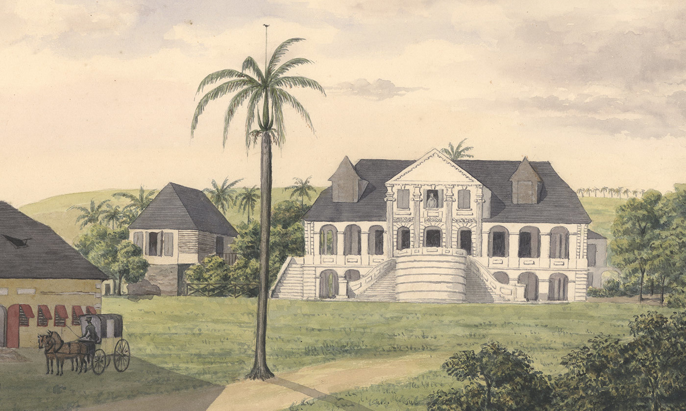 <p>Plantation Høgensborg on St Croix in the former Danish West Indies (1833). <em>Courtesy Wikipedia</em></p>