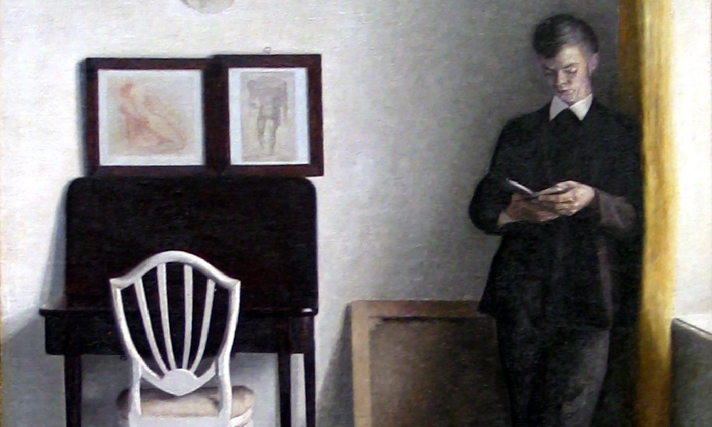 Detail from <em>Interior with Young Man Reading</em> by Vilhelm Hammershøi, 1898. <em>Courtesy Wikimedia</em>