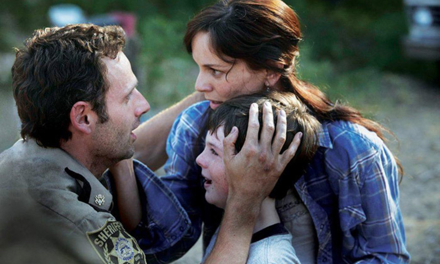 <p>Rick Grimes (Andrew Lincoln) and family in <em>The Walking Dead</em> TV series. <em>Courtesy AMC</em></p>