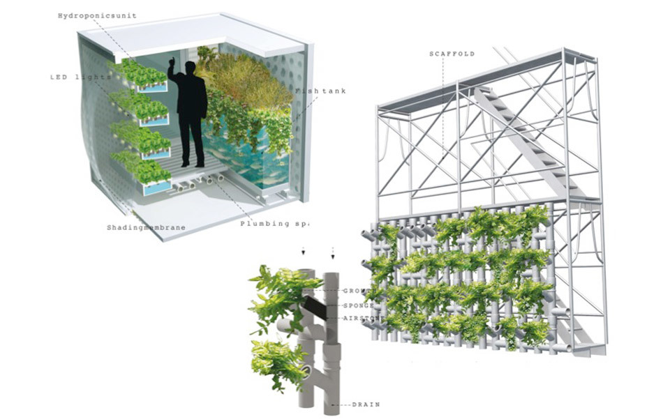 These food-growing 'cells' are intended for widespread distribution, in backyards, on rooftops, sidewalks and other small spaces. Miniature greenhouses, they are designed to be personal farms, allowing individuals to raise their own food.